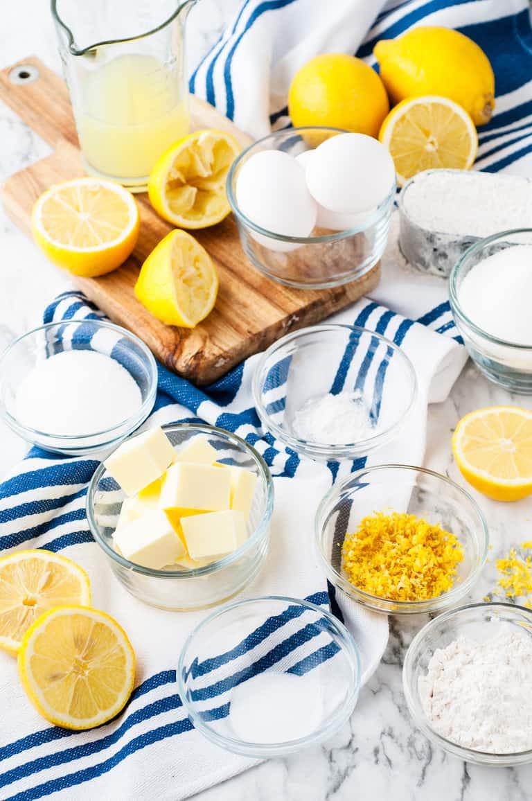 the ingredients needed for making lemon bars