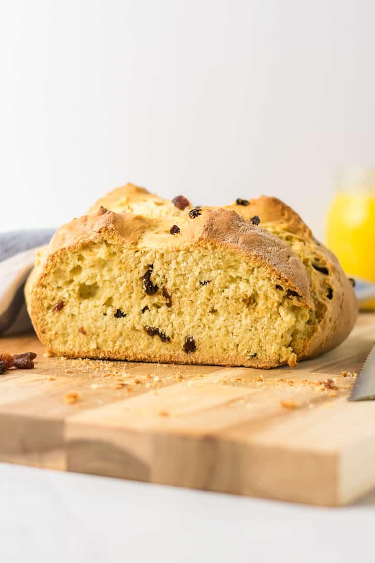 side view of a cut loaf of irish soda bread no yeast bread