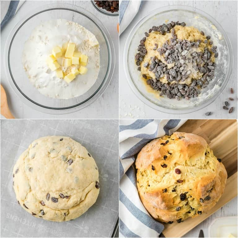 image collage showing the steps for making no yeast bread