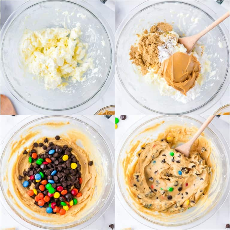image collage showing the steps for making chocolate chip cookie dough dip