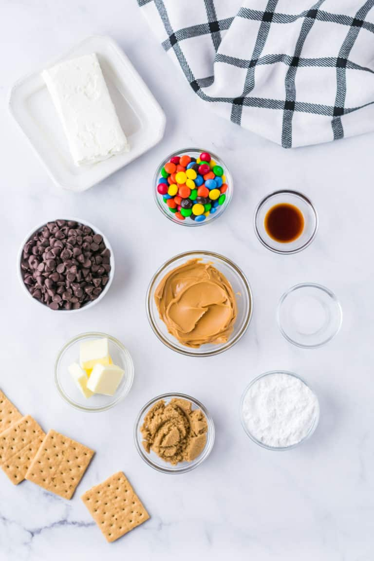 the ingredients needed for making chocolate chip cookie dough dip