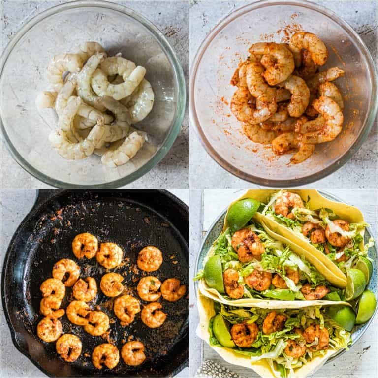 image collage showing the steps for making shrimp tacos