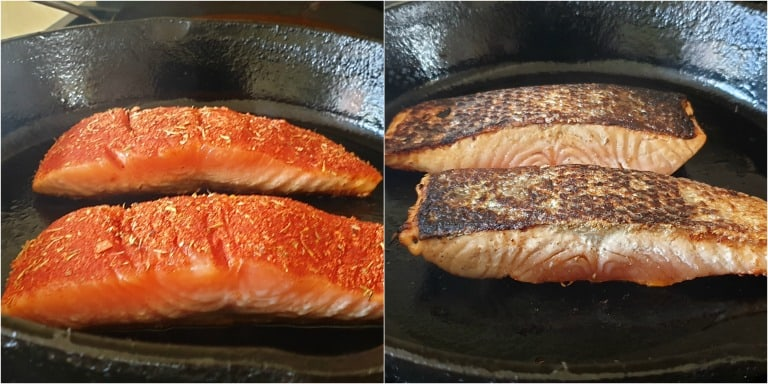 image collage showing how to tell when blackened salmon is cooked halfway through