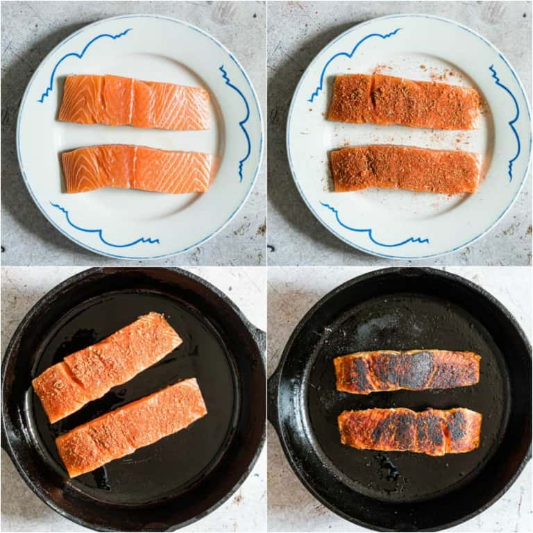 image collage showing the steps for making blackened salmon