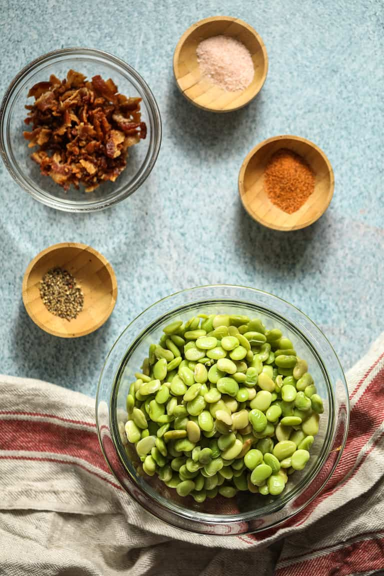 the ingredients needed to make southern butter beans