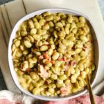 top down view of finished southern butter beans recipe