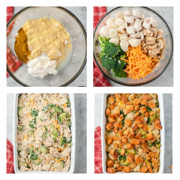 image collage showing the steps for making chicken broccoli casserole
