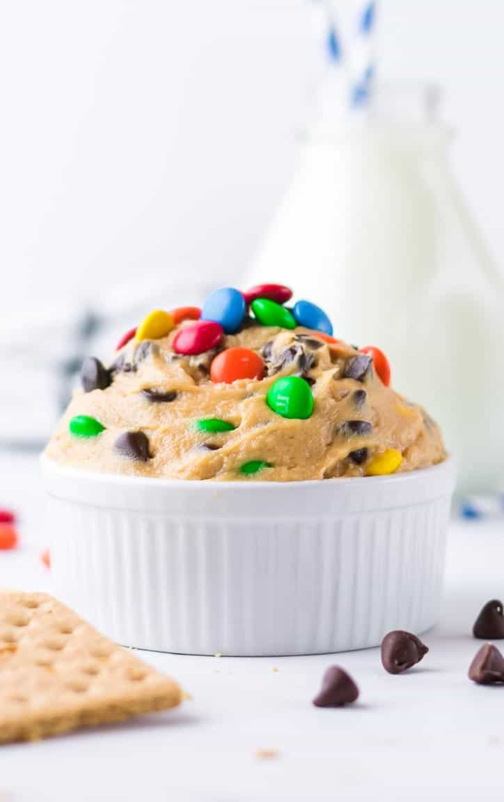 Peanut butter cookie dough dip in a bowl