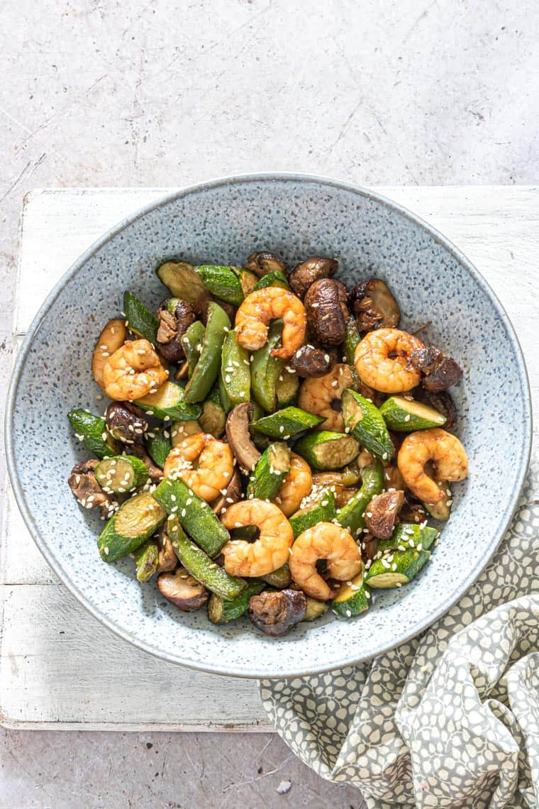 the finished air fryer hibachi shrimp in a bowl