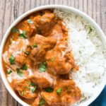 top down view of instant pot butter chicken served with rice