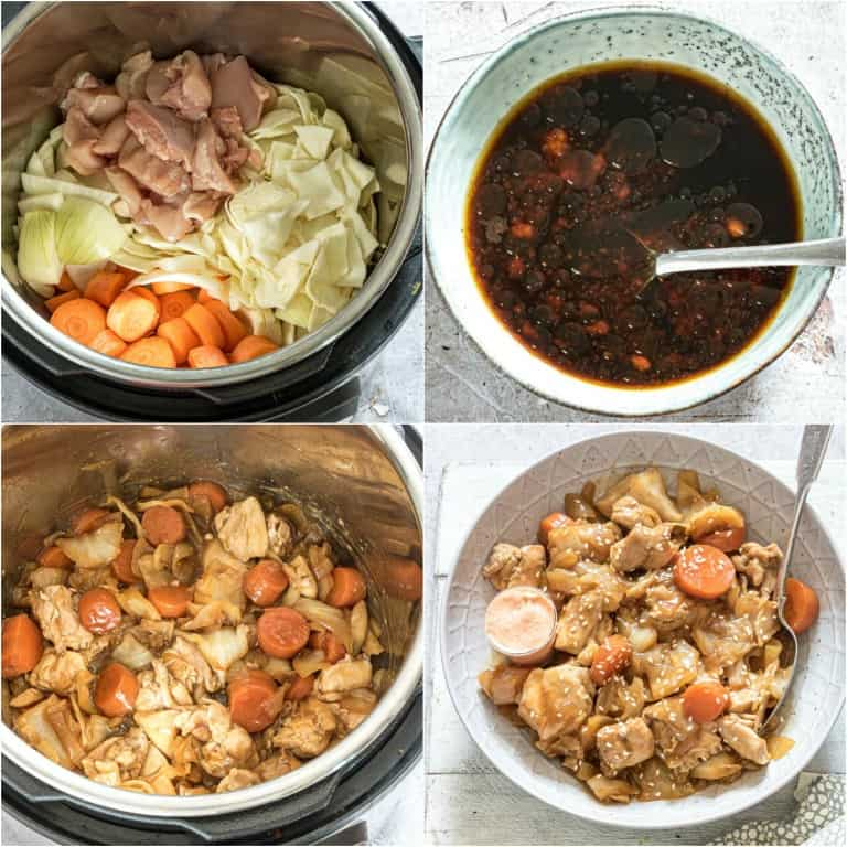 image collage showing the steps fort making instant pot hibachi chicken