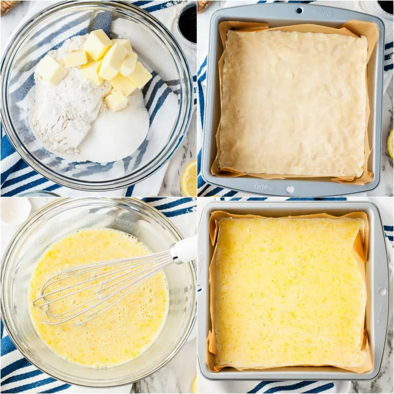 image collage showing the first four steps for making lemon bars