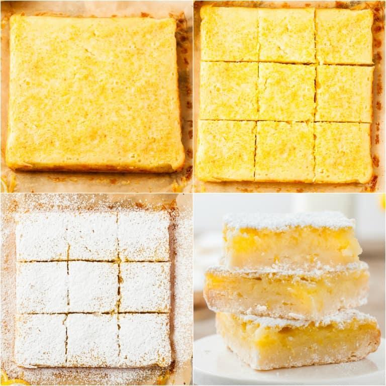 image collage showing the steps for making lemon bars