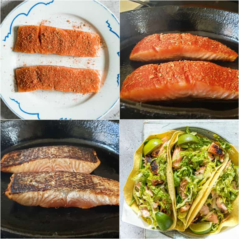 image collage showing the steps for making salmon tacos