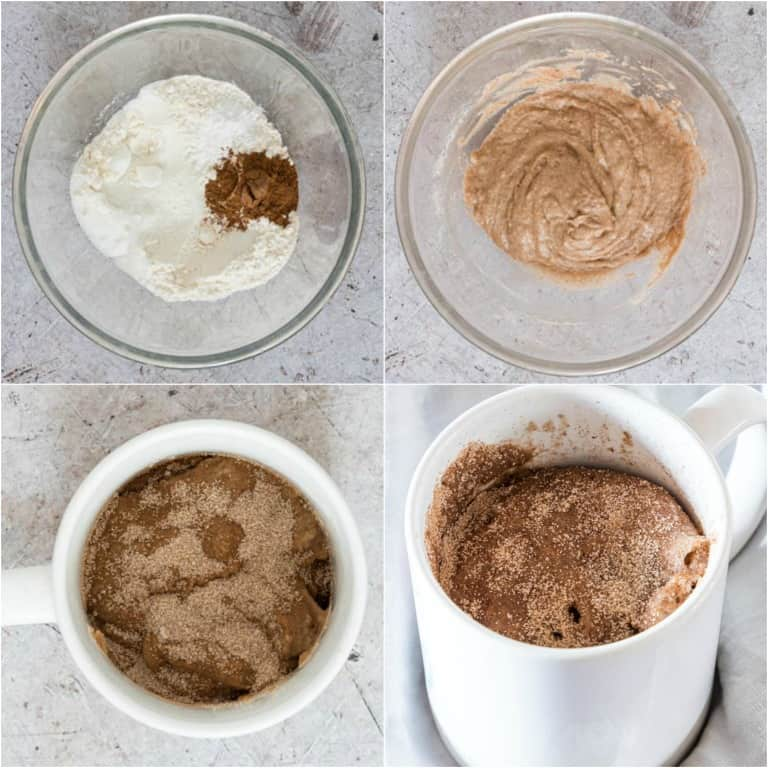 image collage showing the steps for making snickerdoodle mug cake