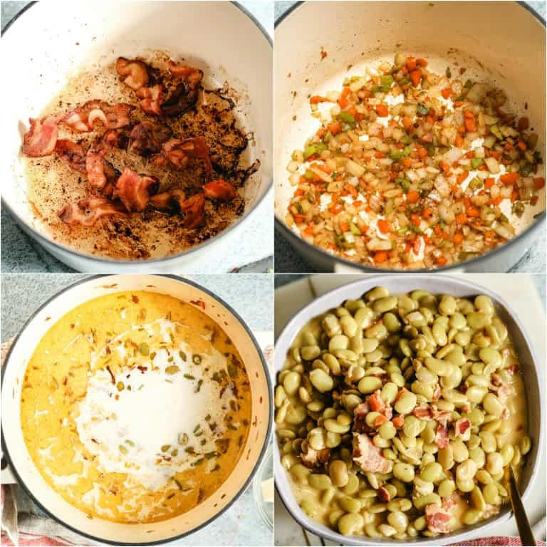 image collage showing the steps for making butter beans