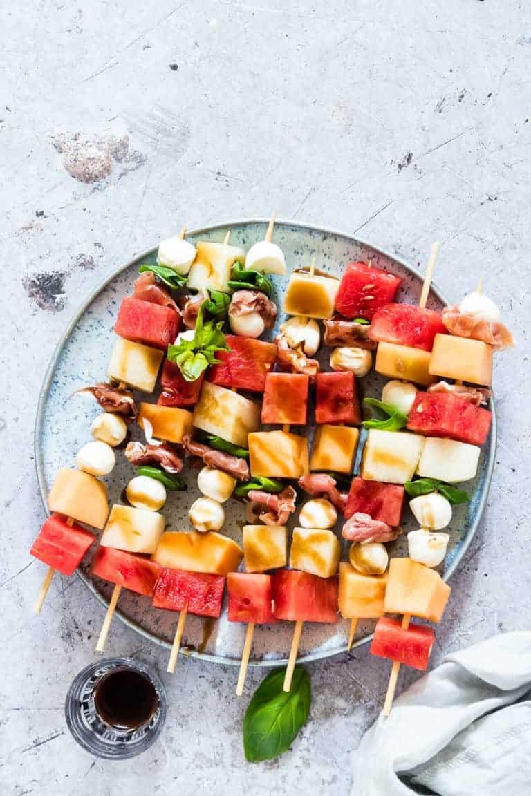 colourful melon prosciutto skewers