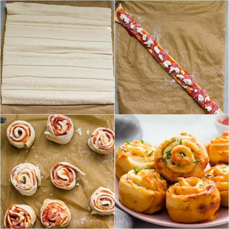 image collage showing the steps for making air fryer pizza rolls