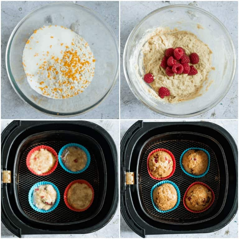 image collage showing the steps for making air fryer raspberry muffins