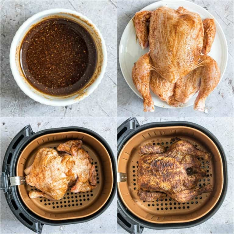 image collage showing the steps for making air fryer cornish hen