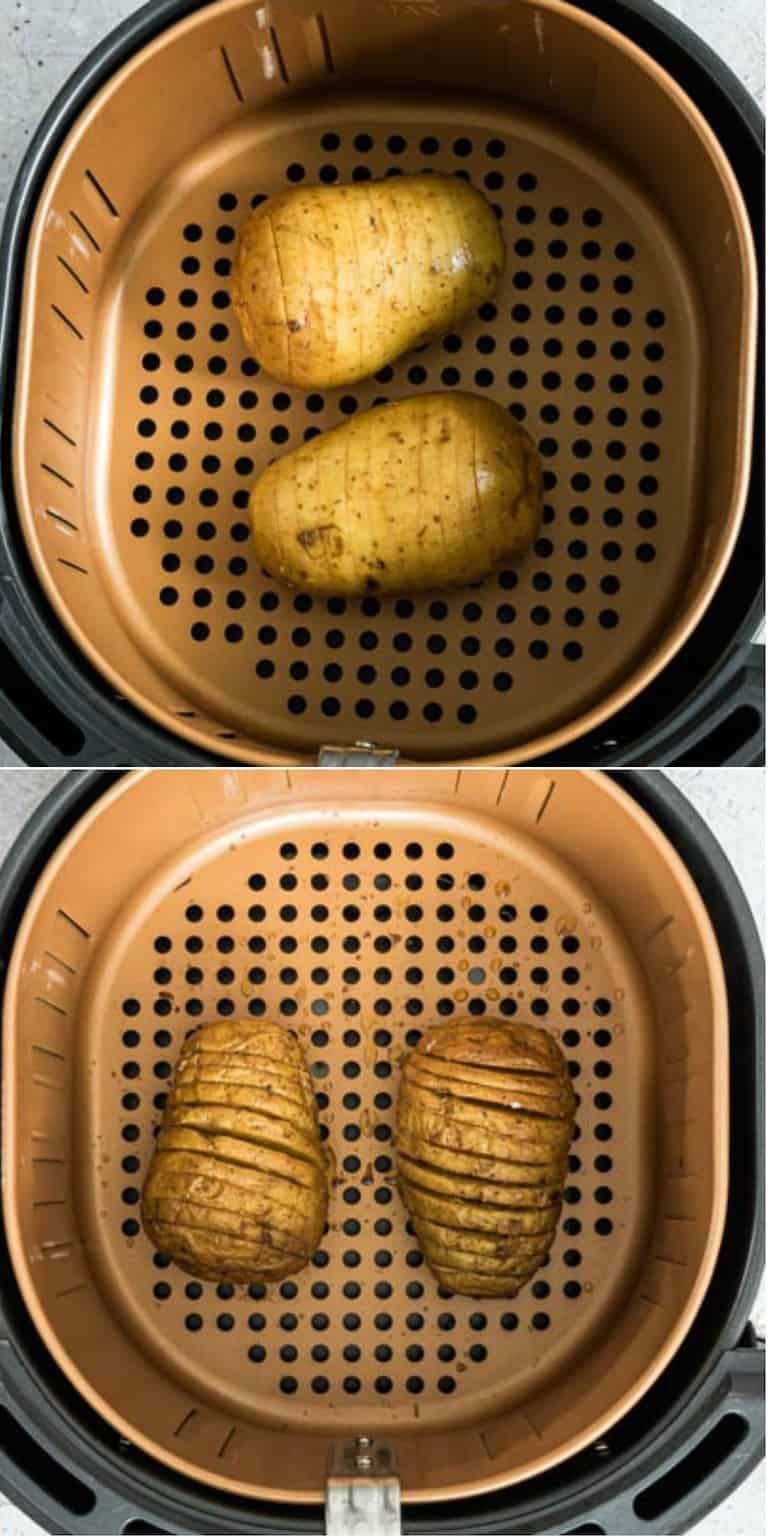 image collage showing the steps for making air fryer hasselback potatoes