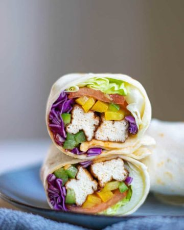 a completed air fryer tofu wrap ready to be served