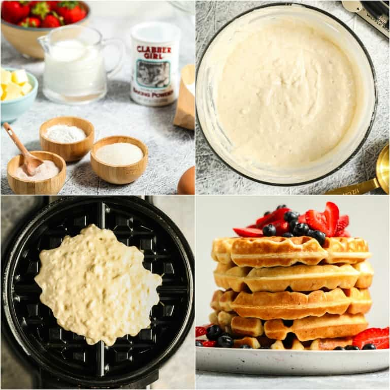 image collage showing the steps for making buttermilk waffles