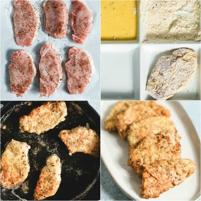 image collage showing the steps for making fried pork chops
