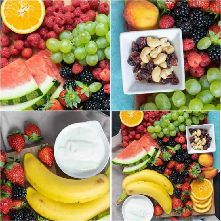 image collage showing the steps for how to make a fruit tray