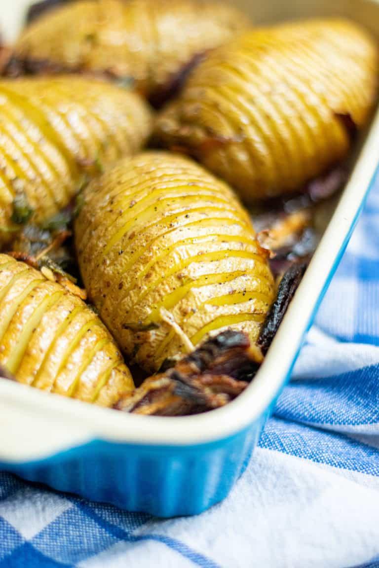 Close up of crispy hasselback potatoes