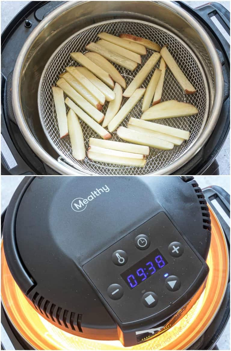 image collage showing the steps for making instant pot french fries