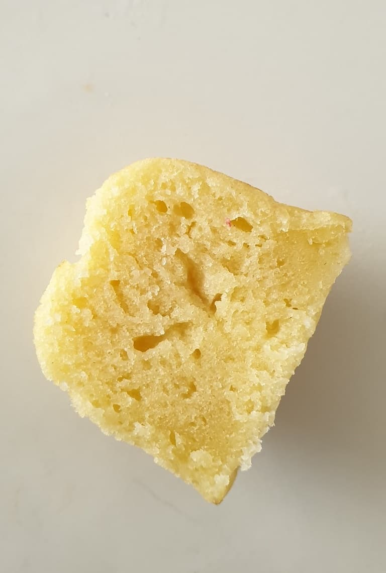 close up of one of the cooked Instant Pot Pancake Bites cut in half