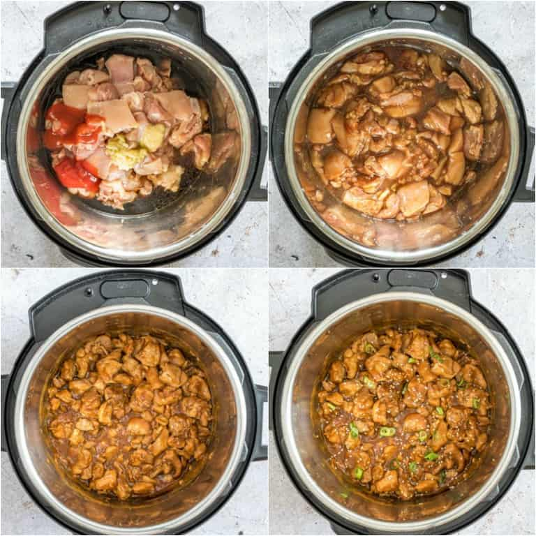 image collage showing the steps for making instant pot sesame chicken