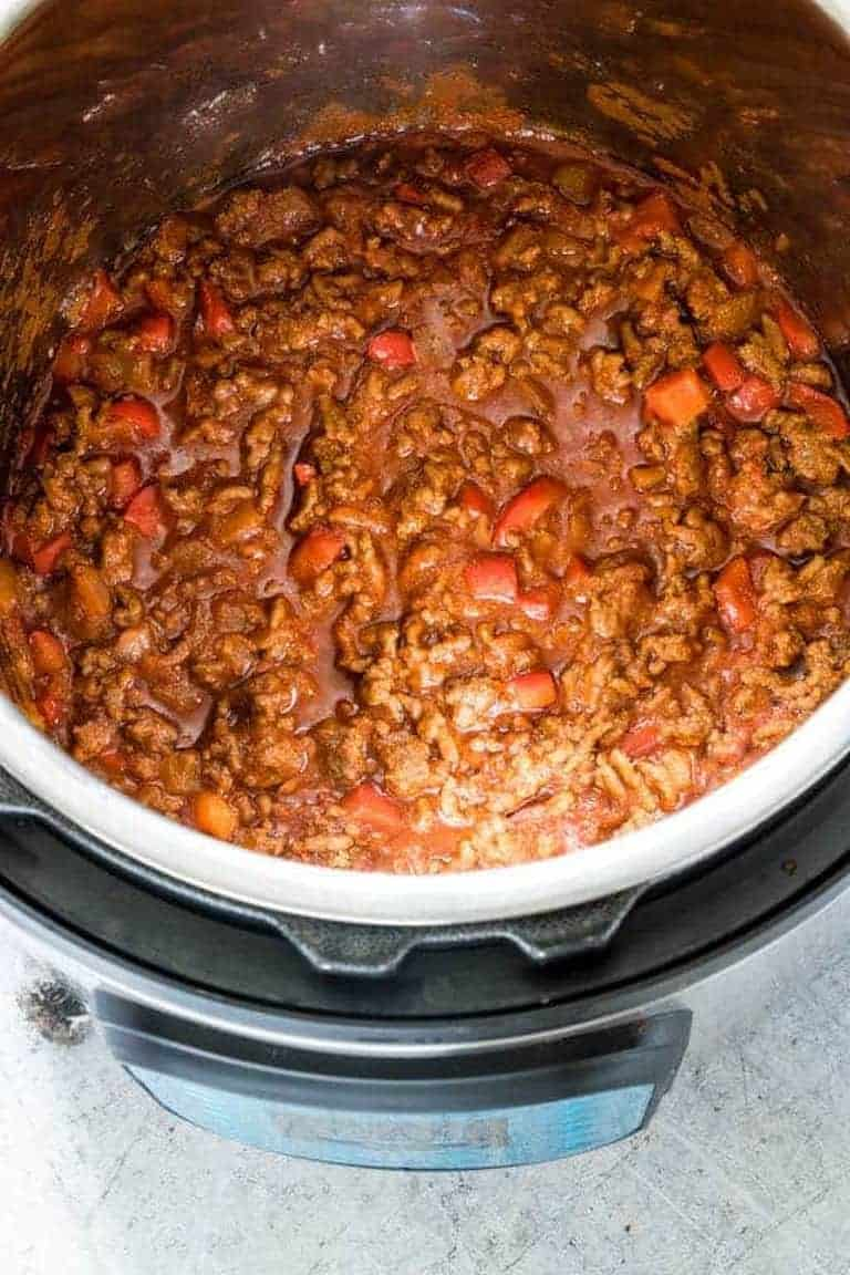 the completed instant pot sloppy joes recipe inside the instant pot