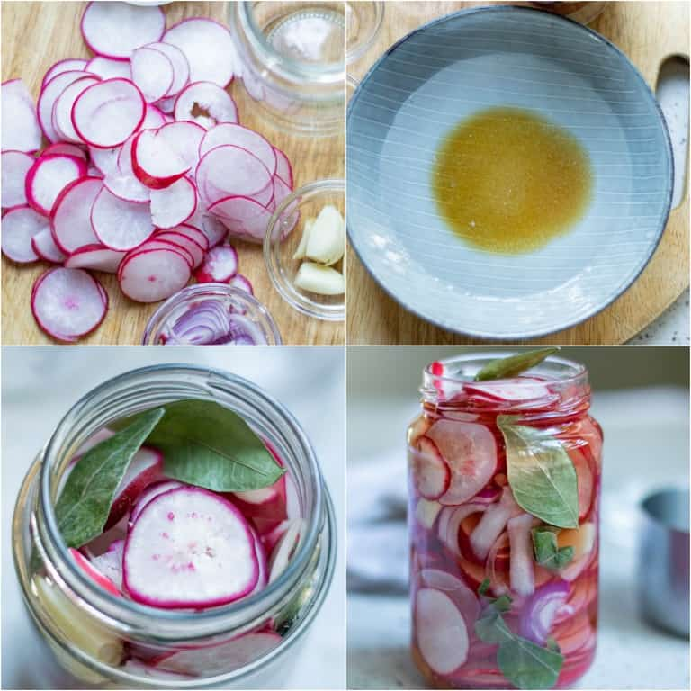 image collage showing the steps for making pickled radishes