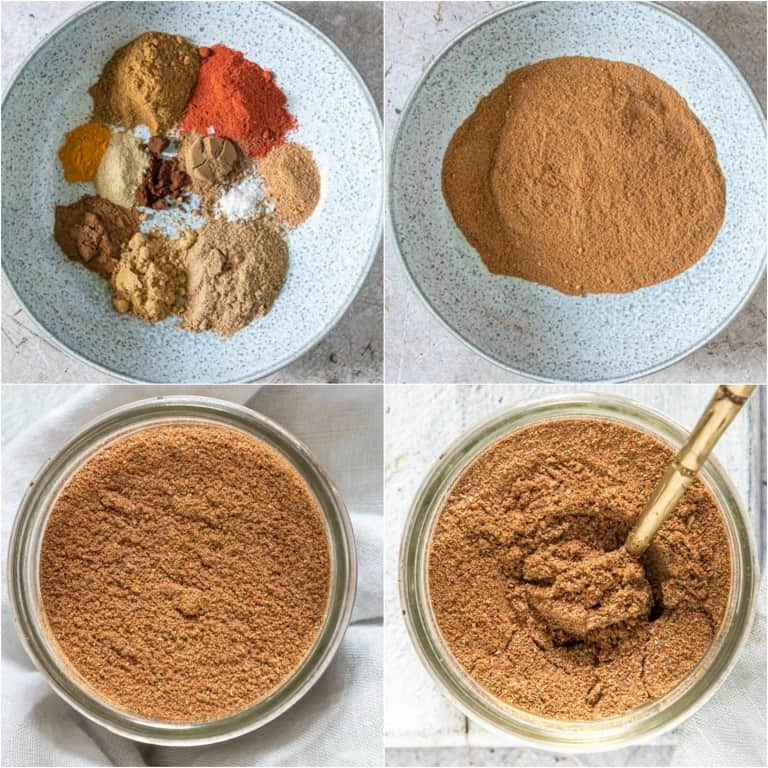 image collage showing the steps for making shawarma seasoning