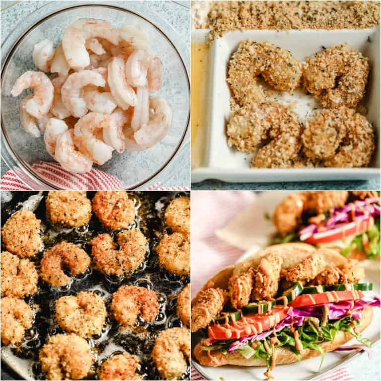 image collage showing the steps for making shrimp po boy sandwich recipes