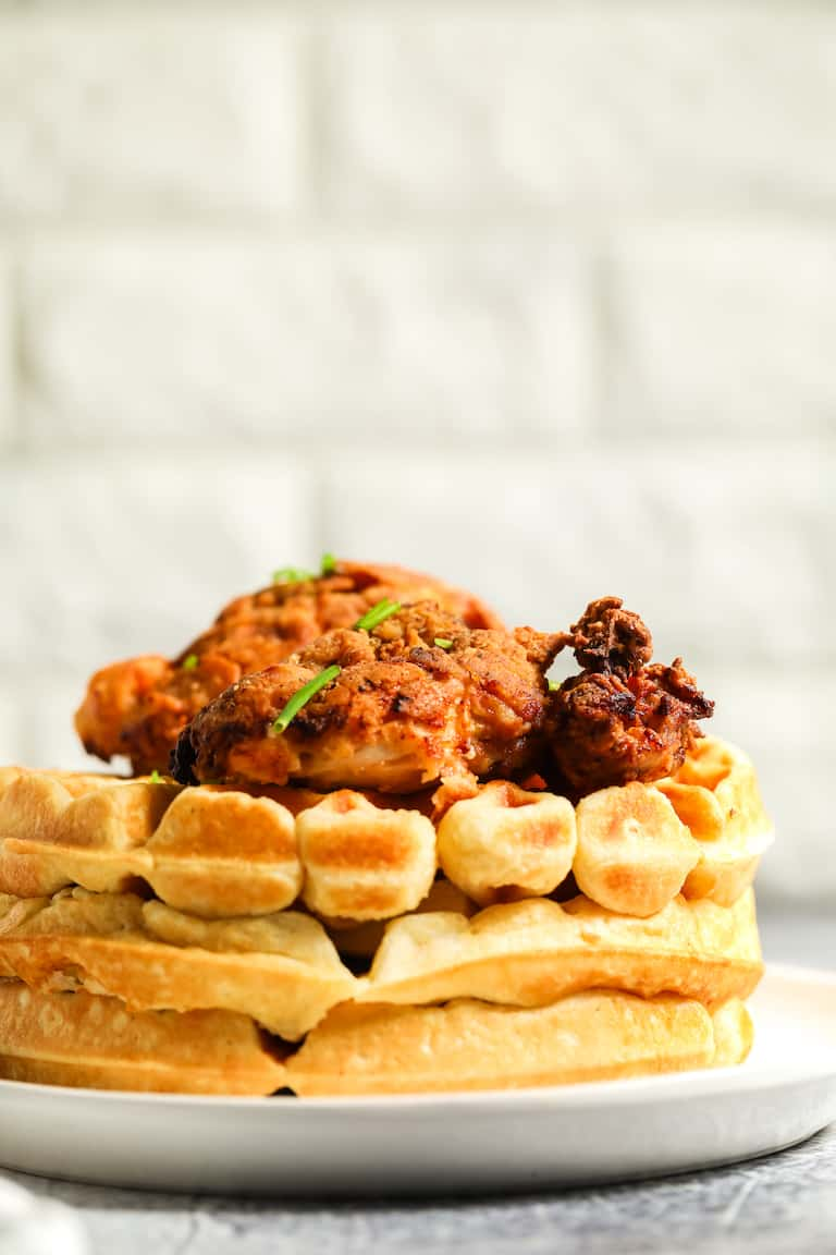 side view of the finished southern chicken and waffles recipe