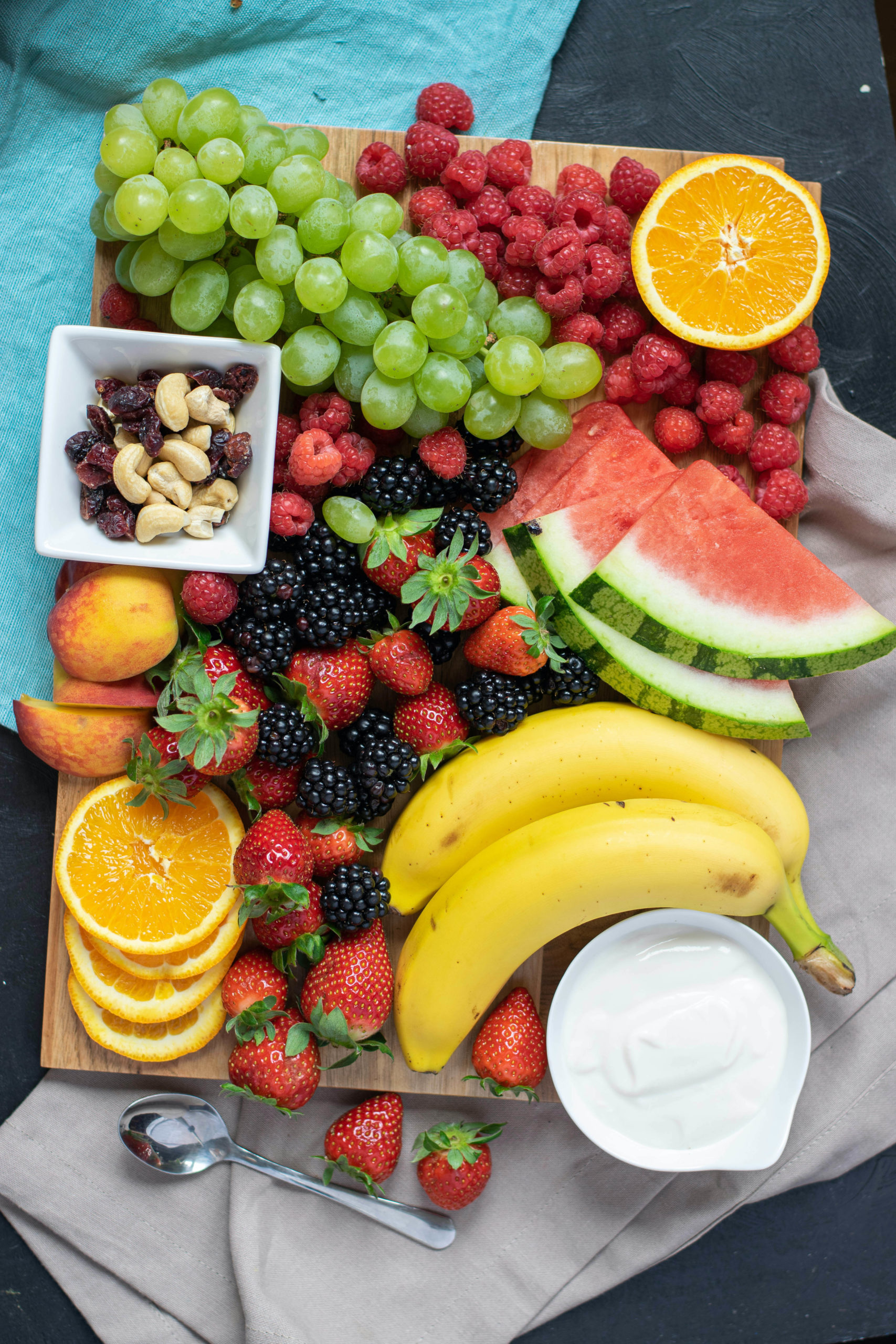 a completed fruit tray ready to be served