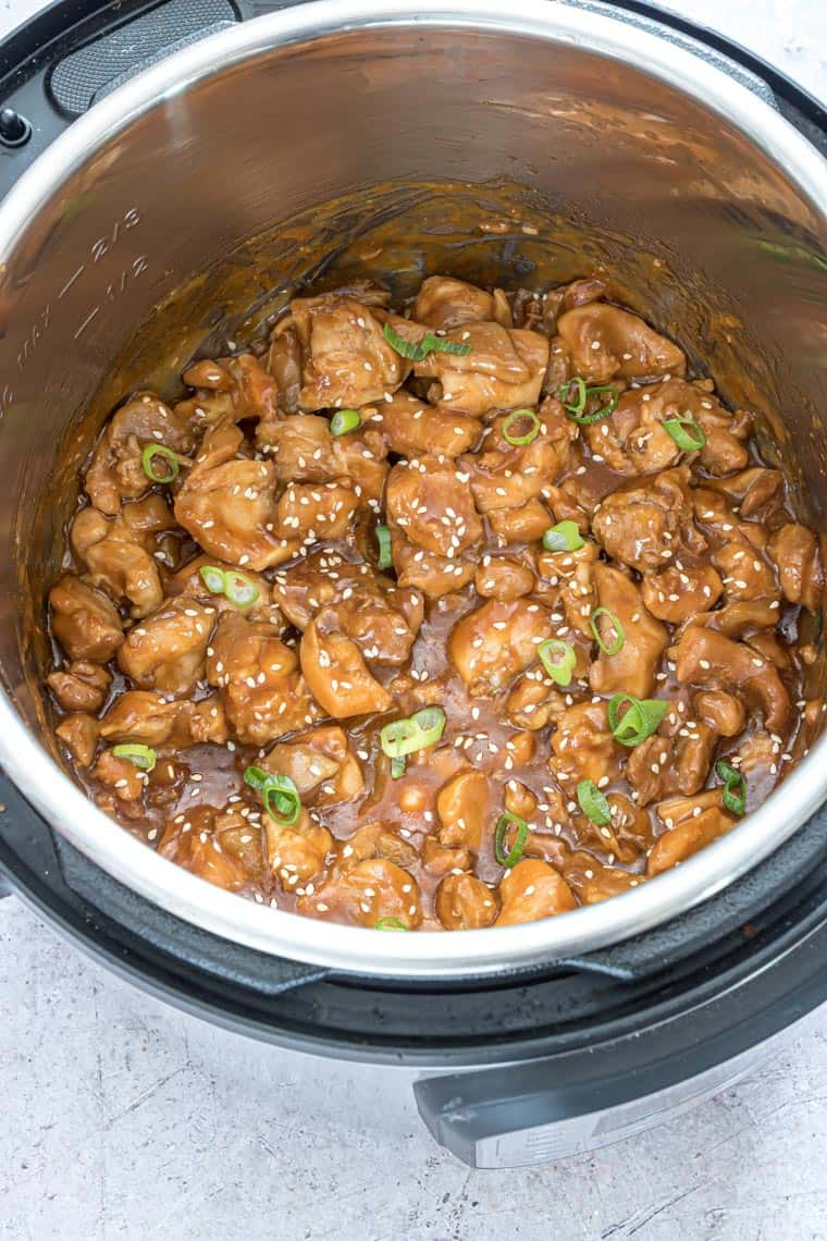 the finished instant pot sesame chicken recipe inside the instant pot
