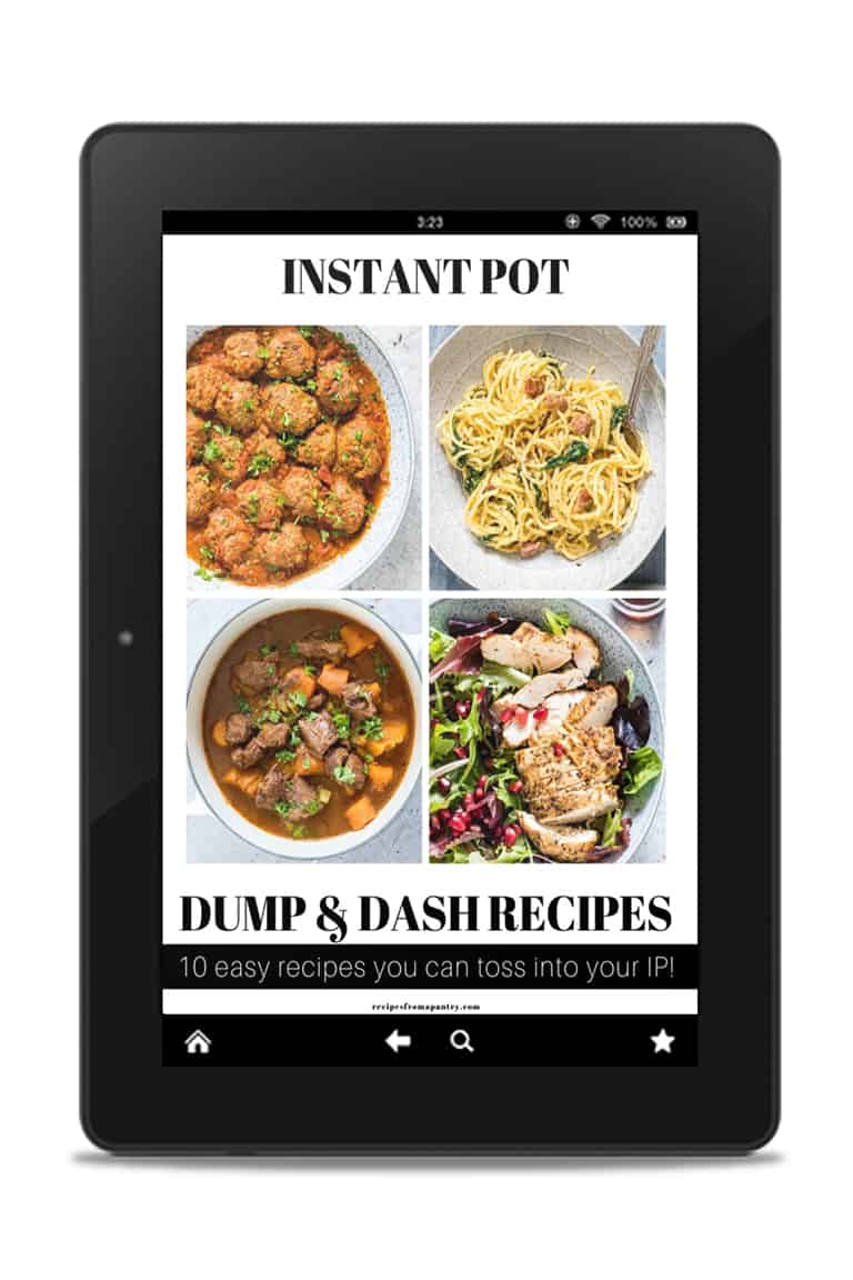 an image of an instant pot dump and dash cookbook