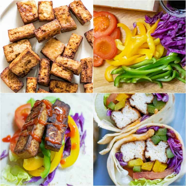 image collage showing the steps for making air fryer tofu wrap