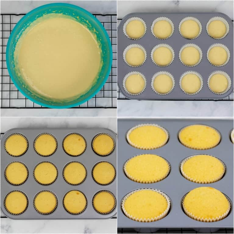 image collage showing the first of the steps for making 4th of July Cupcakes