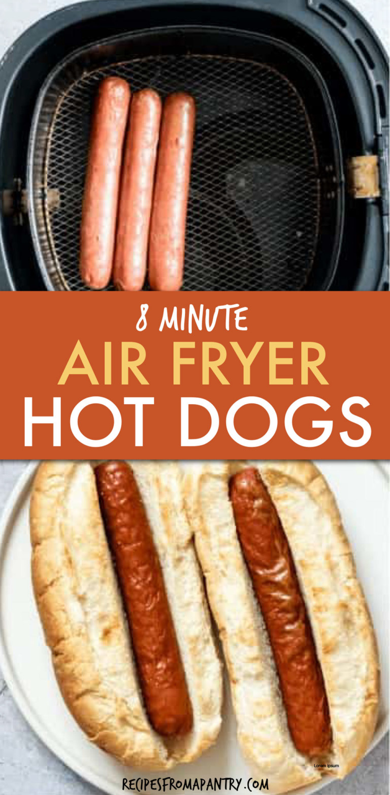 TWO IMAGES OF HOT DOGS IN AN AIR FRYER AND ON A PLATE