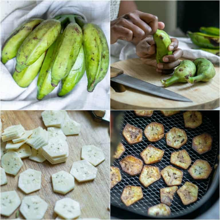 image collage showing the steps for making air fryer banana chips