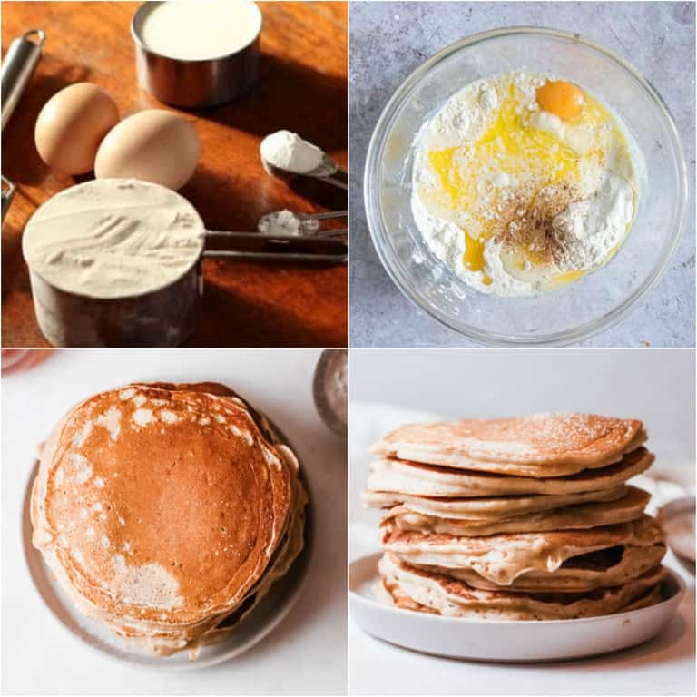 image collage showing the steps for making buttermilk pancakes