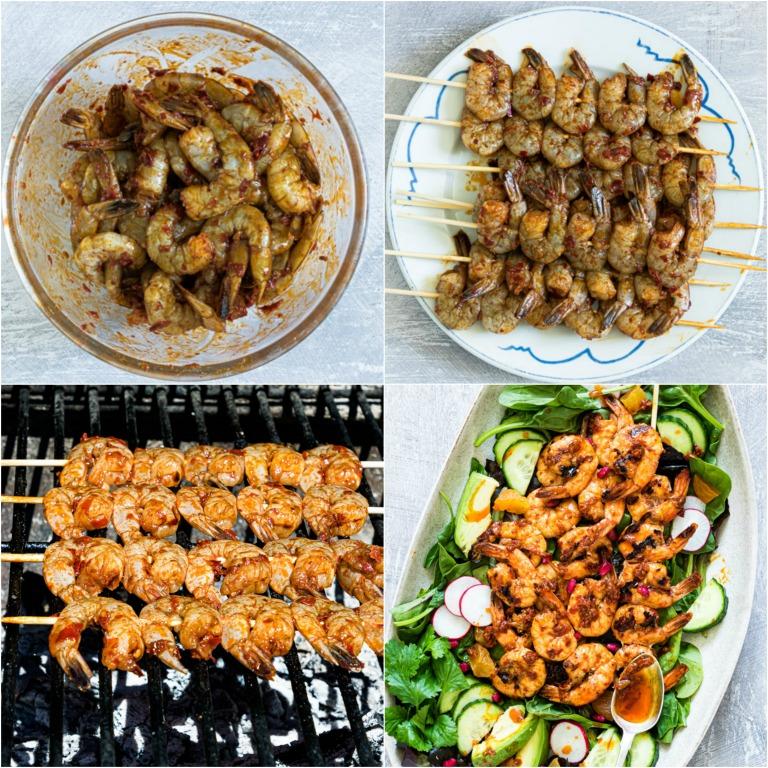image collage showing the steps for making harissa grilled shrimp salad