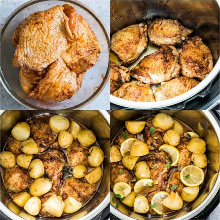 image collage showing the steps for making instant pot chicken and potatoes