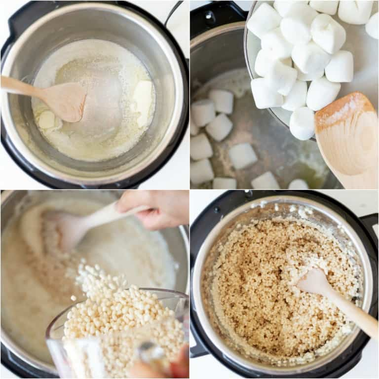 image collage showing the steps for making instant pot rice krispie treat