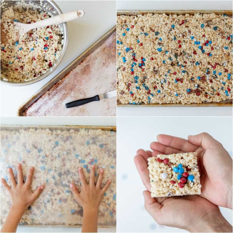 image collage showing the final steps for making instant pot rice krispie treat